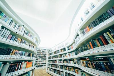 Photo of library shelves full of books