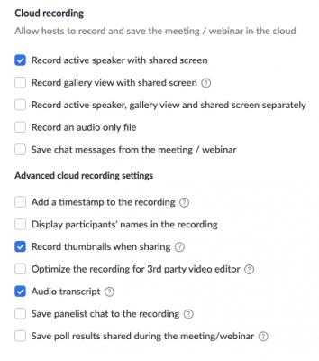 Zoom's advanced video recording options