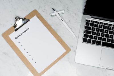 Clipboard by laptop