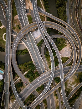Bird's eye view of complex motorway junction