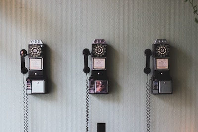 row of old telephones