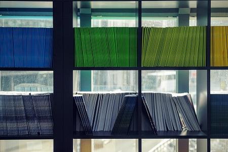files on a shelf