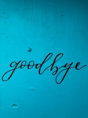 Goodbye written on blue background