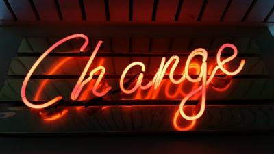 Neon sign that says 'change'