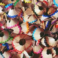 Colourful pencil shavings